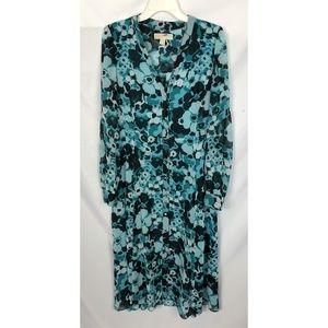 Michael Kors Button Front Blue Floral Maxi Dress M
